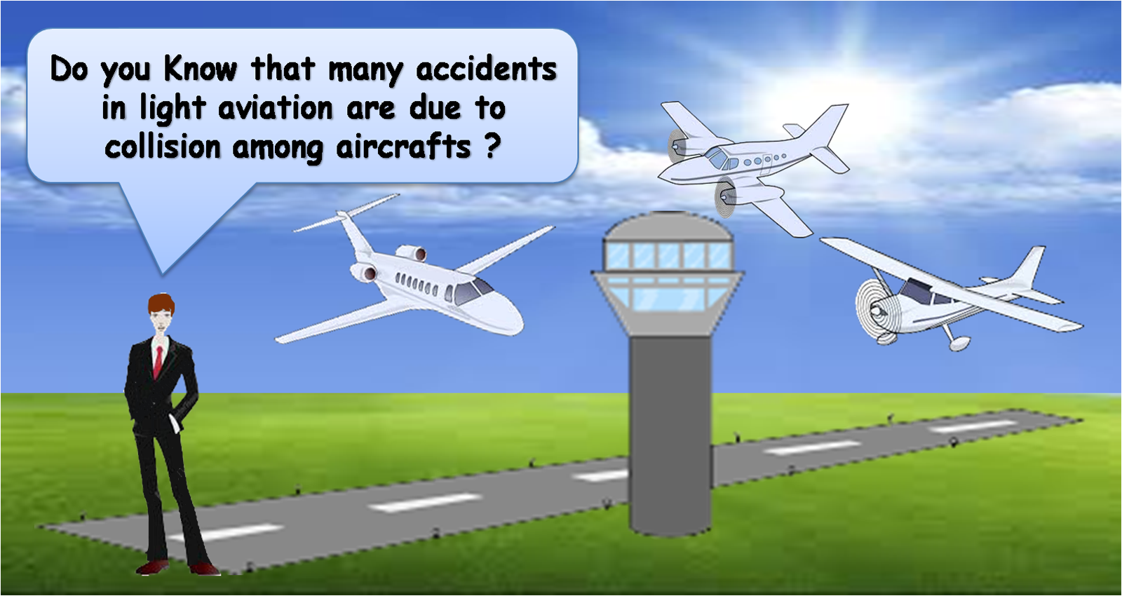 Many accidents in light aviation are due to the collision among aircrafts and drone.
